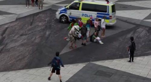 Efecto óptico URBANO en Estocolmo »Mind your step»