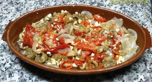 berenjena, tomate, cebolla, pimientos rojos, ajo, aceite, sal, escalivada, canalmenorca.com
