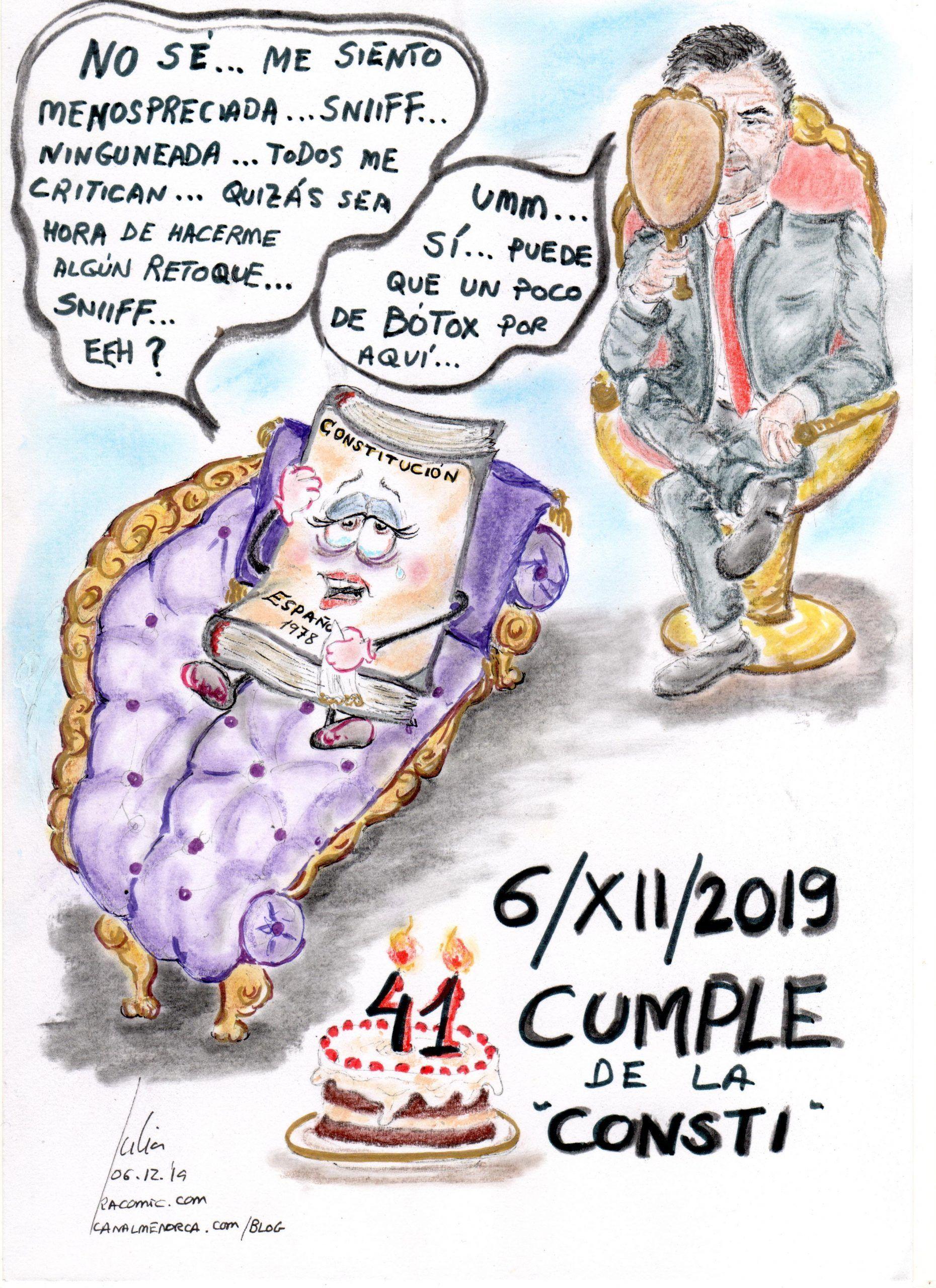 cómic, viñeta, dibujo, tebeo, historieta, arte, caricatura, rincón de julia, Rabiosa Actualidad, Radiaciones Comiqueras, Cómic Digital, navegantes racomiqueros, racomic.com, constitución, festividad, Feliz cumpleaños, canalmenorca.com