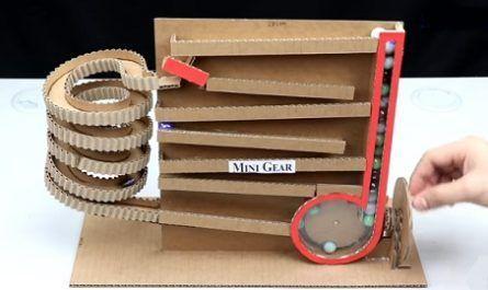 manualidades, hecho de cartón, papel, cartulina, circuito, canicas, bolas, continuo, sin paradas, sin motores, Marble Run Machine, no DC motor, canalmenorca.com