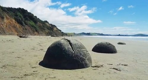 Piedras Esféricas de Moeraki en Nueva Zelanda