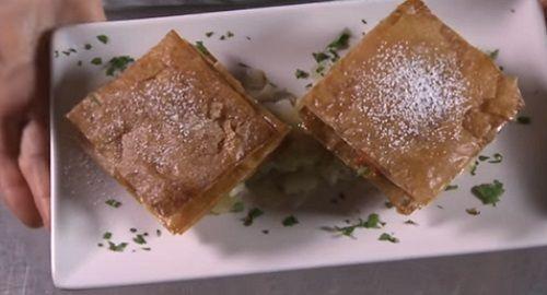 Milhojas de crema de queso Mahón