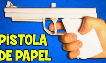 cartón, papel, origami, papiroflexia, manualidad, mano, pistola, gomas elásticas, inofensiva, puntería, potente, casera, canalmenorca.com
