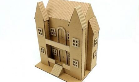 cartón, papel, hoja, doblar, origami, papiroflexia, manualidad, mano, adorno, juguete, casa, dos pisos, miniatura, tejado, balcón, cardboard, canalmenorca.com