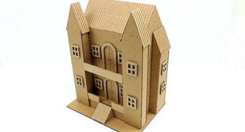 Casa de dos pisos en miniatura de Cartón