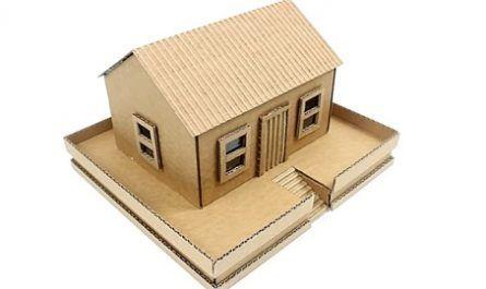 cartón, papel, hoja, doblar, origami, papiroflexia, manualidad, mano, adorno, juguete, casita, tejado, canalmenorca.com