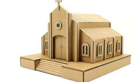 cartón, papel, hoja, doblar, origami, papiroflexia, manualidad, mano, adorno, juguete, iglesia, church, cardboard, canalmenorca.com