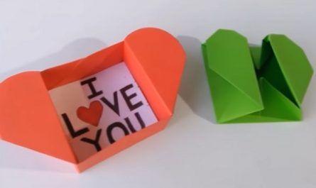 cartón, papel, hoja, doblar, origami, papiroflexia, manualidad, mano, juguete, caja, corazón, sobre, Heart Box, Envelope, canalmenorca.com