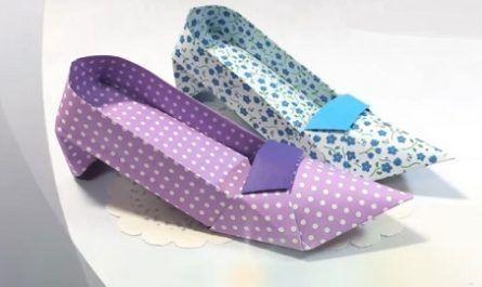 cartón, papel, hoja, doblar, origami, papiroflexia, manualidad, mano, juguete, zapatos, tacón alto, canalmenorca.com
