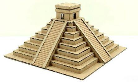Cartón, Doblar, Hoja, Juguete, Mano, Manualidad, Origami, Papel, Papiroflexia, templo, maya, cartón, miniatura, canalmenorca.com