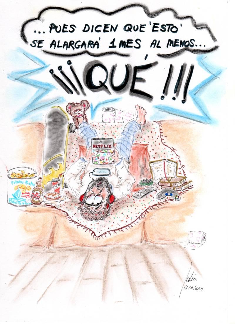 cómic, viñeta, dibujo, tebeo, historieta, arte, caricatura, rincón de julia, Rabiosa Actualidad, Radiaciones Comiqueras, Cómic Digital, familias, 15 días, un mes, alargar, confinamiento, nueva era, coronavirus, España, covid-19, infectados, cuarentena, racomic.com, canalmenorca.com