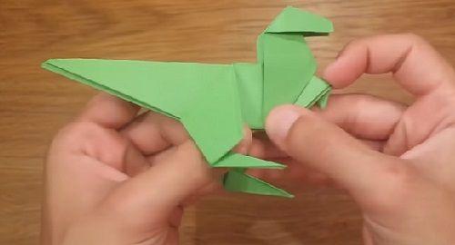 DINOSAURIO Origami Sencillo de papel