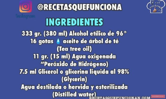 Gel, Desinfectante, Casero, Receta, Manos, Hand, Sanitizer, Antibacteriano, AntiSéptico, OMS, Higiniezante, Glicerol, glicerina, Alcohol, Isopropílico, Agua, Oxigenada, Destilada, Ingredientes, coronavirus, covid-19, hidroalcohólico, menorca, canalmenorca.com