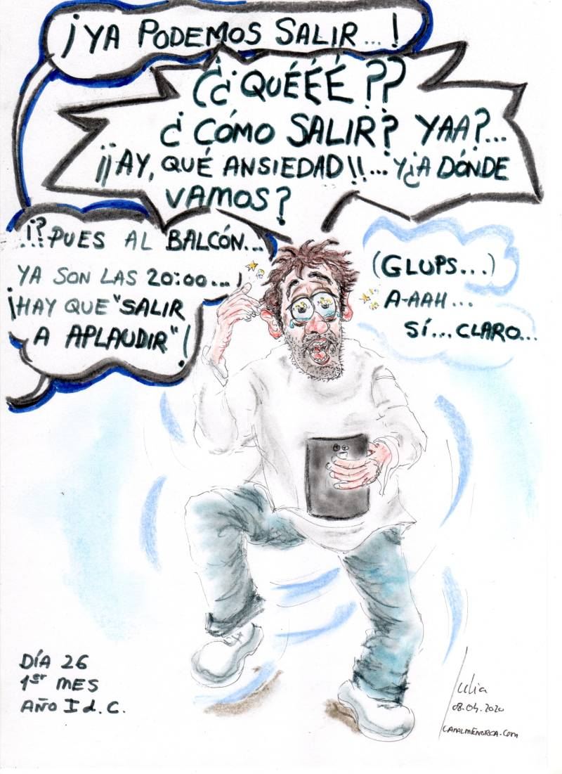 cómic, viñeta, dibujo, tebeo, historieta, arte, caricatura, rincón, julia, Rabiosa, Actualidad, Radiaciones Comiqueras, Cómic, Digital, Espejismo, Monotonía, instante, Aplaudir, Balcón, coronavirus, España, covid-19, infectados, cuarentena, racomic.com, canalmenorca.com