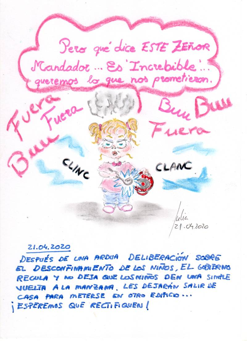 cómic, viñeta, dibujo, tebeo, historieta, arte, caricatura, rincón, julia, Rabiosa, Actualidad, Radiaciones Comiqueras, Cómic, Digital, Cacerolada, niños, Peques, Salida, coronavirus, covid-19, cuarentena, confinamiento, mascarilla, test, epidemia, pandemia, racomic.com, canalmenorca.com