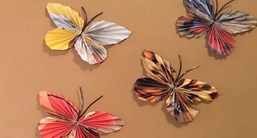 Manualidades, cartón, papel, hoja, doblar, origami, papiroflexia mano, juguete, MARIPOSAS PAPEL, Lepidóptero, recortes de Revistas, Innova, canalmenorca.com