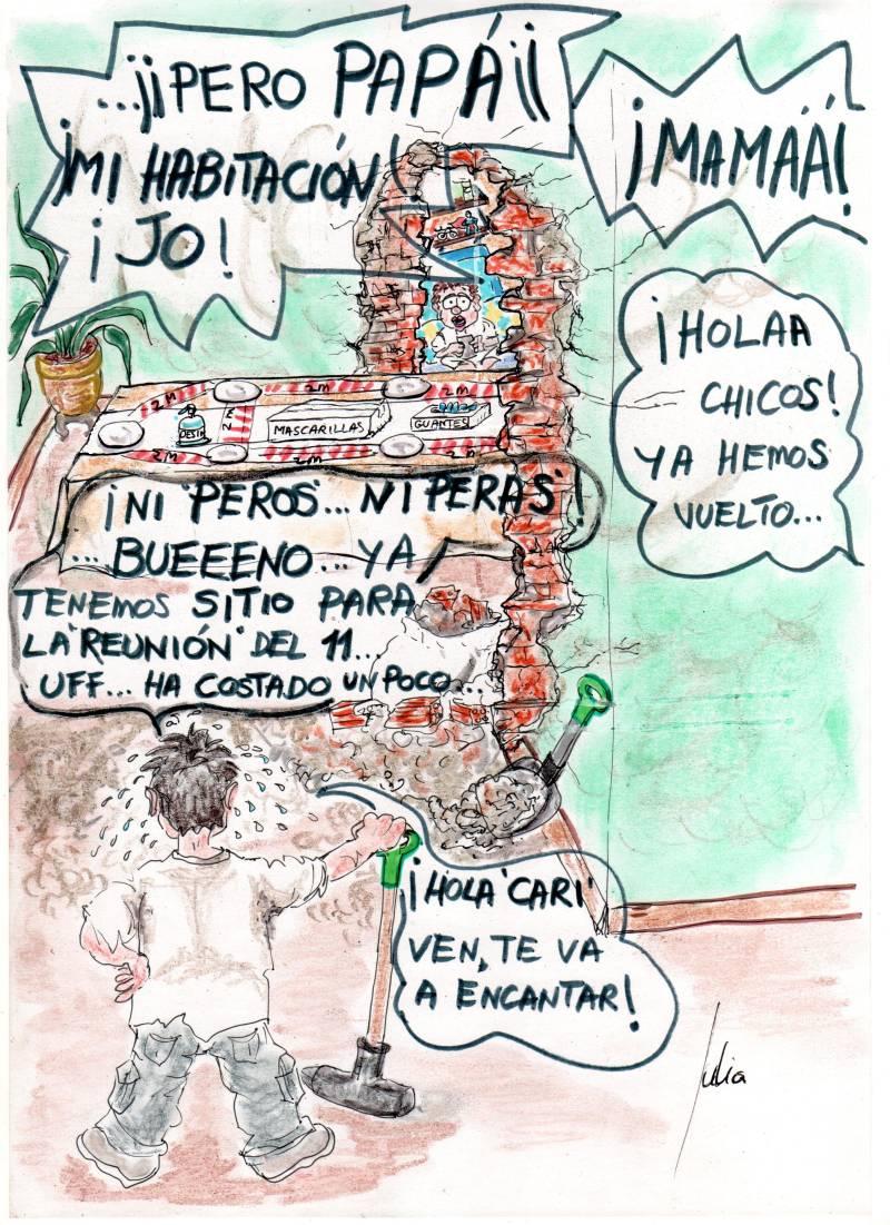 cómic, viñeta, dibujo, tebeo, historieta, arte, caricatura, rincón, julia, Rabiosa, Actualidad, Radiaciones Comiqueras, Cómic, Digital, Fases Desescalada, Normas Sanitarias, Distanciamiento social, contagio, reuniones, nueva normalidad, coronavirus, covid-19, cuarentena, confinamiento, mascarilla, test, epidemia, pandemia, racomic.com, canalmenorca.com