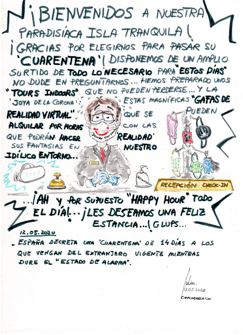 cómic, viñeta, dibujo, tebeo, historieta, arte, caricatura, rincón, julia, Rabiosa, Actualidad, Radiaciones Comiqueras, Cómic, Digital, Desescalada, Hoteles Virtuales, Gafas Realidad Aumentada, Nueva Normalidad, Sin Riesgo contagio, coronavirus, covid-19, cuarentena, confinamiento, mascarilla, test, epidemia, pandemia, racomic.com, canalmenorca.com
