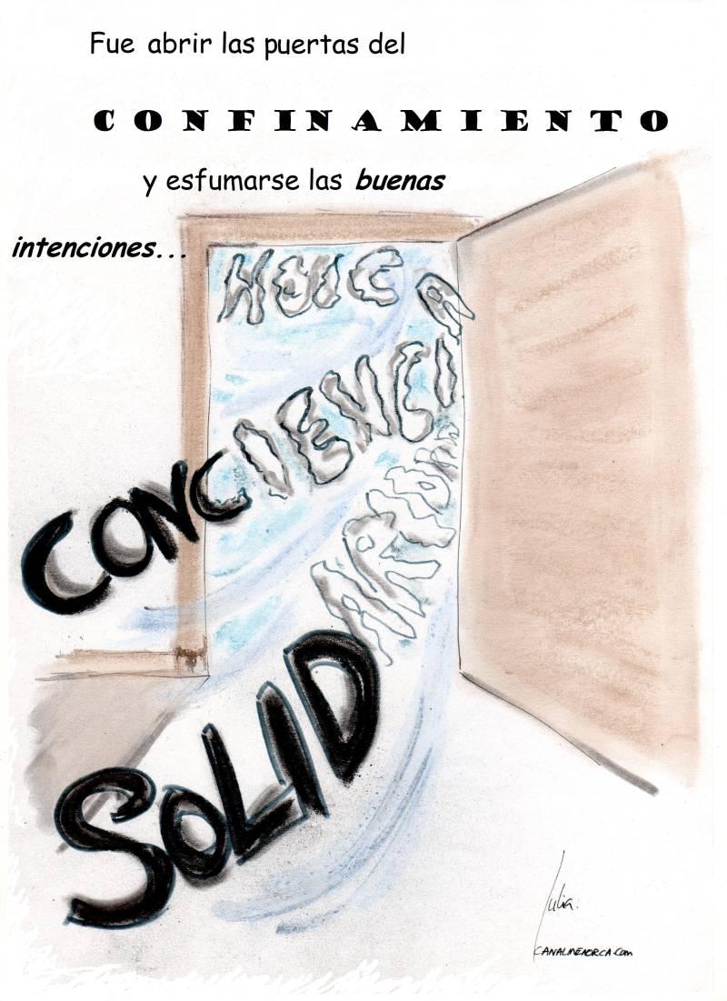cómic, viñeta, dibujo, tebeo, historieta, arte, caricatura, rincón, julia, Rabiosa, Actualidad, Radiaciones Comiqueras, Cómic, Digital, Desescalada, Buenas Intenciones, Aplaudir, Postureo, Solidaridad, Conciencia, Esfumarse, coronavirus, covid-19, cuarentena, confinamiento, mascarilla, test, epidemia, pandemia, racomic.com, canalmenorca.com