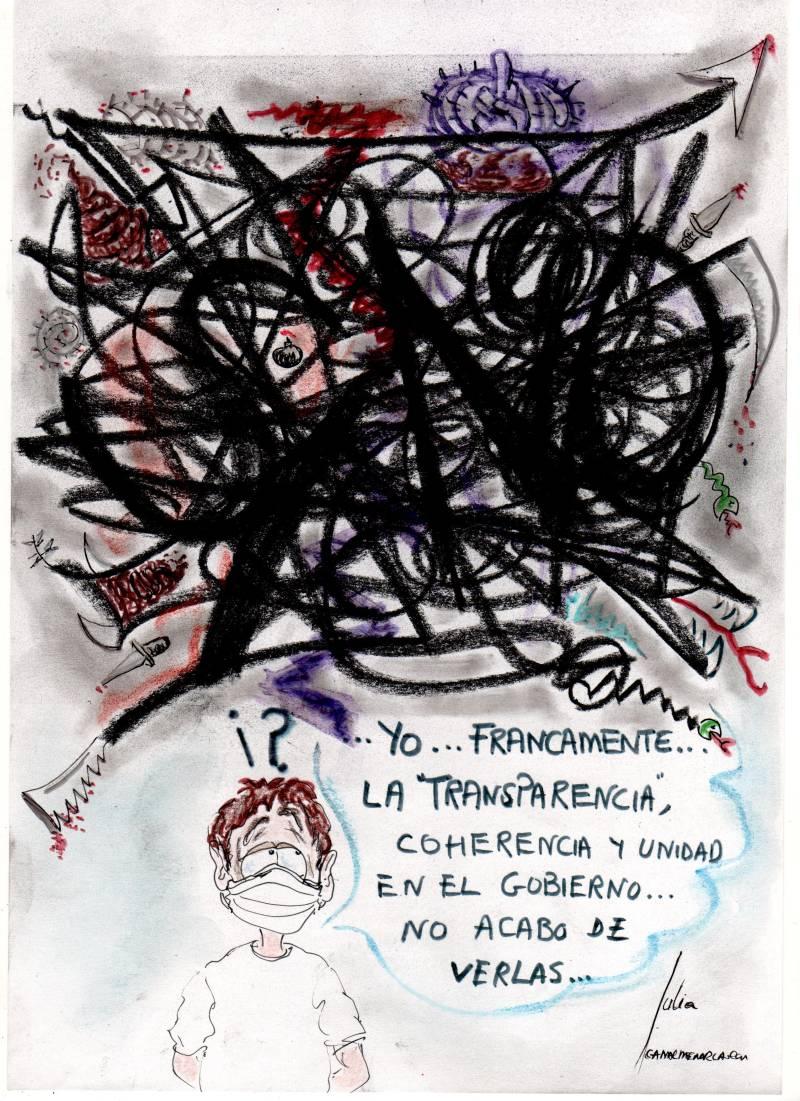 cómic, viñeta, dibujo, tebeo, historieta, arte, caricatura, rincón, julia, Rabiosa, Actualidad, Radiaciones Comiqueras, Cómic, Digital, Desescalada, Transparencia Gobierno, Brilla por su ausencia, Coherencia, Unidad, coronavirus, covid-19, cuarentena, confinamiento, mascarilla, test, epidemia, pandemia, racomic.com, canalmenorca.com