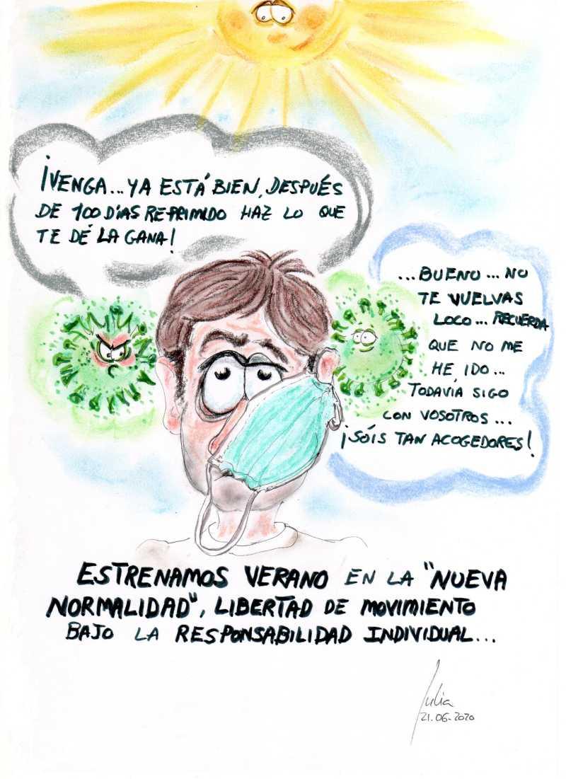 cómic, viñeta, dibujo, tebeo, historieta, arte, caricatura, rincón, julia, Rabiosa, Actualidad, Radiaciones Comiqueras, Cómic, Digital, Desescalada, coronavirus, covid-19, cuarentena, confinamiento, mascarilla, test, epidemia, pandemia, racomic.com, Estreno, Verano, Nueva Normalidad, Vacuna, Remedio, Ya Llegó, canalmenorca.com