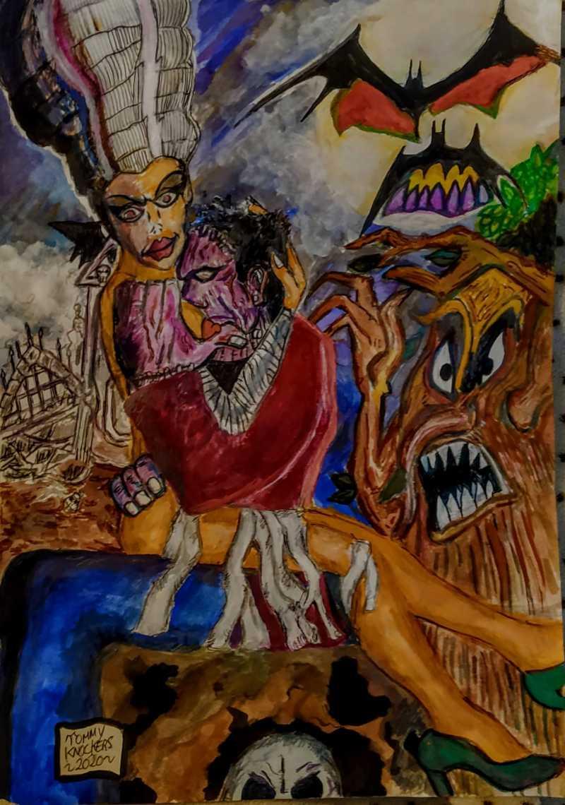 cómic, viñeta, dibujo, caricatura, historieta, tebeo, dibujante, menorquín, inefable, Tommy knockers, Salas, NiñoX, ProtestoneX, Rarezas, Bocetos, esbozos, Trio Macabro, Frankenstein, Ahorcado, Venganza, Muerte, Castillo, Lombrices, canalmenorca.com
