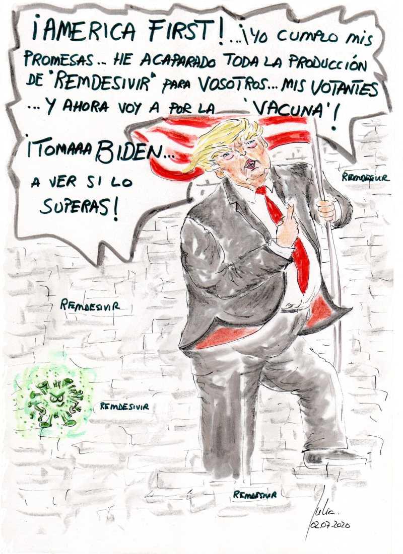 cómic, viñeta, dibujo, tebeo, historieta, arte, caricatura, rincón, julia, Rabiosa, Actualidad, Radiaciones Comiqueras, Cómic, Digital, Desescalada, coronavirus, covid-19, cuarentena, confinamiento, mascarilla, test, epidemia, pandemia, racomic.com, Donald Trump, Tonto el último, Illa, Ministro, Espabila, vacuna, canalmenorca.com