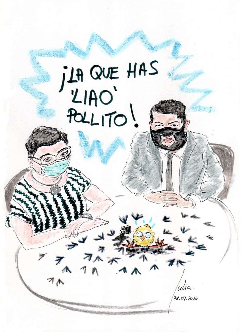 cómic, viñeta, dibujo, tebeo, historieta, arte, caricatura, rincón, julia, Rabiosa, Actualidad, Radiaciones Comiqueras, Cómic, Digital, Desescalada, coronavirus, covid-19, cuarentena, confinamiento, mascarilla, test, epidemia, pandemia, racomic.com, Inglaterra, Boris Johnson, González Laya, Llanito, Brexit, Libras, Reunión Bilateral, canalmenorca.com
