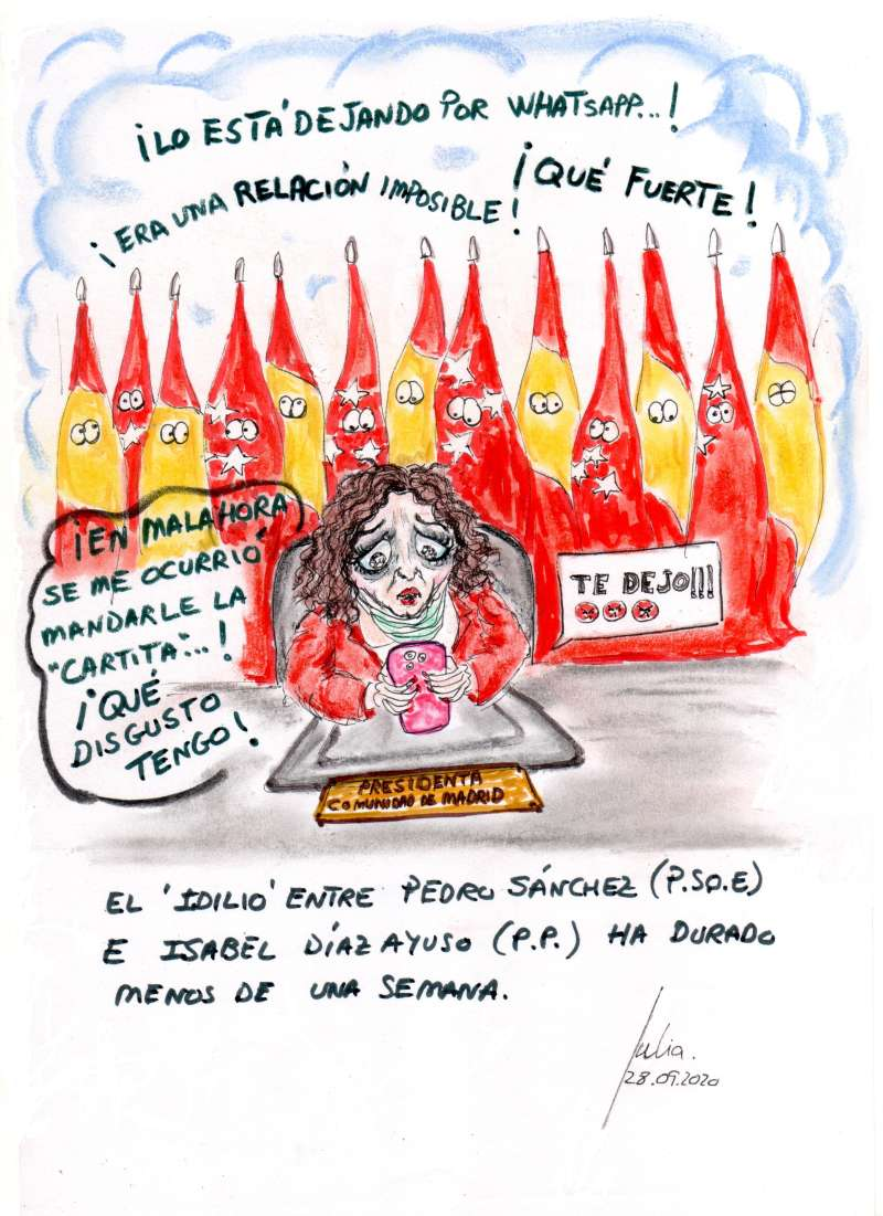 cómic, viñeta, dibujo, tebeo, historieta, arte, caricatura, rincón, julia, Rabiosa, Actualidad, Radiaciones Comiqueras, Cómic, Digital, Desescalada, coronavirus, covid-19, Gestión, Escasa, Tarde, cuarentena, confinamiento, mascarilla, test, epidemia, pandemia, racomic.com, Amores Imposibles, Isabel Díaz Ayuso, PP, Pedro Sánchez, PSOE, Comunidad Madrid, canalmenorca.com
