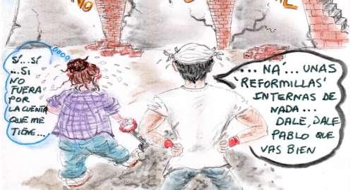 cómic, viñeta, dibujo, tebeo, historieta, arte, caricatura, rincón, julia, Rabiosa, Actualidad, Radiaciones Comiqueras, Cómic, Digital, racomic.com, Reformas, Poder Judicial, Bruselas, Normas Comunitarias, Gobierno España, Políticos Españoles, Crdibilidad, Ayudas Económicas, Separación Poderes, Estado, Legislativo, Ejecutivo, Judicial, Pablo Iglesias, canalmenorca.com