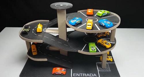 Garaje Aparcamiento para coches de Juguete hecho de cartón