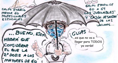 Simón «abriendo el paraguas»…