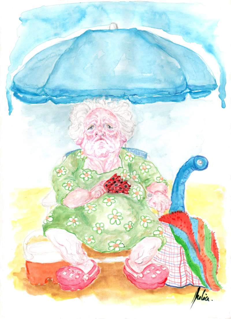 Menorca, bosquejo, croquis, esquema, boceto, esbozo, ilustración, pintura, retrato, viÑETA, dibujo, rincón julia, Rabiosa Actualidad, Acuarela, Abuela, Playa, Sombrilla,