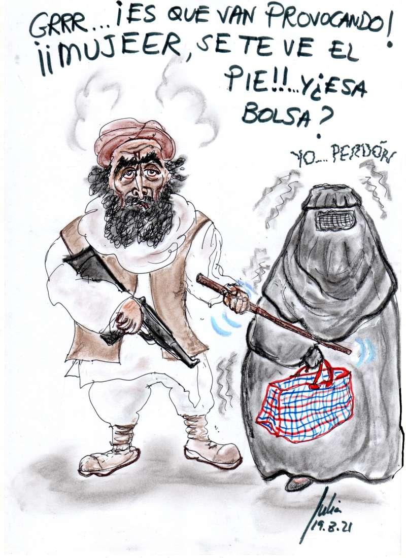 cómic, viñeta, dibujo, tebeo, historieta, arte, caricatura, rincón julia, Rabiosa Actualidad, Radiaciones Comiqueras, Cómic Digital, Talibán, Afganistán, Terror, Emirato Islámico,