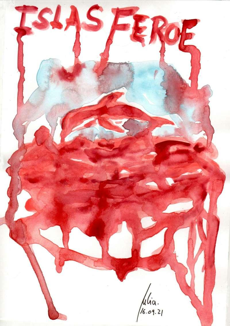 Menorca, bosquejo, croquis, esquema, boceto, esbozo, ilustración, pintura, retrato, viÑETA, dibujo, rincón julia, Islas Feroe, Matanza Delfines, Grindadráp, ballenas piloto, calderones, Flancos Blancos, caza tradicional