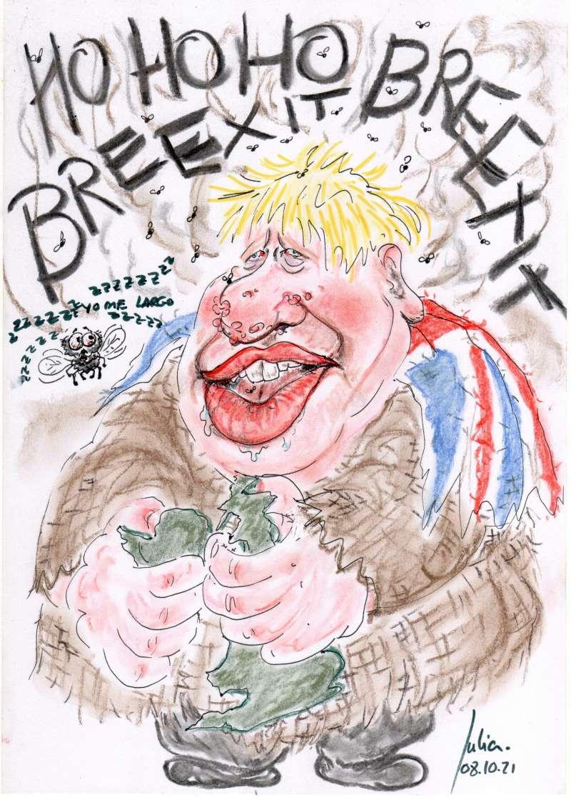 Menorca, bosquejo, croquis, esquema, boceto, esbozo, ilustración, pintura, retrato, Viñeta, dibujo, rincón julia, Brexit, Build Back Better, Reino Unido, Great Britain, Boris Johnson, Europa